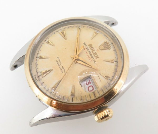 .RARE 1953 ROLEX 6304 OYSTER PERPETUAL DATEJUST TROPICAL OVETTONE 18K S/S WATCH
