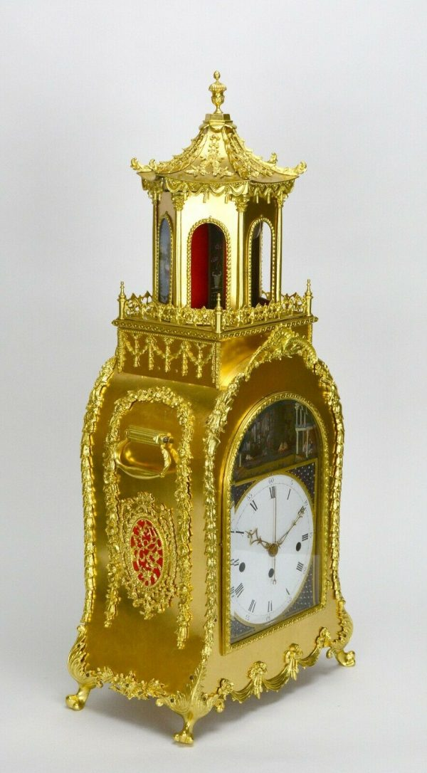 Rare Chinese DOUBLE-ACTION Automaton Musical Gilt Bronze Pavilion Bracket Clock