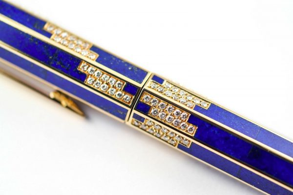 BOUCHERON LAPIS LAZULI 18K SOLID GOLD w/ DIAMONDS FOUNTAIN PEN - RARE