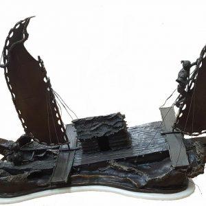 Artist Ron Herron Bronze Sculpture Boat Ship Catamaran 94 LBS Large Rare Statue