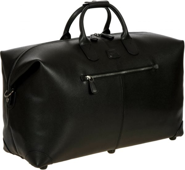 BRIC'S Made in Italy luxurious black leather travel bag week end bag